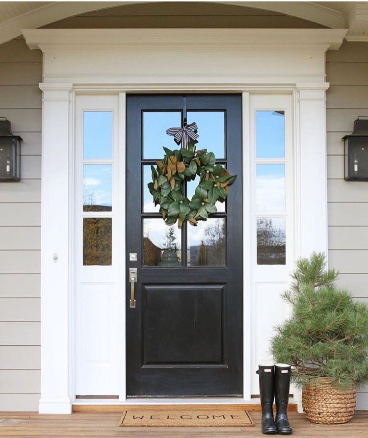 House Color Sherwin Williams Intellectual Gray Door Tricorn Black Painted Front Doors Front Door Paint Colors Brick Exterior House
