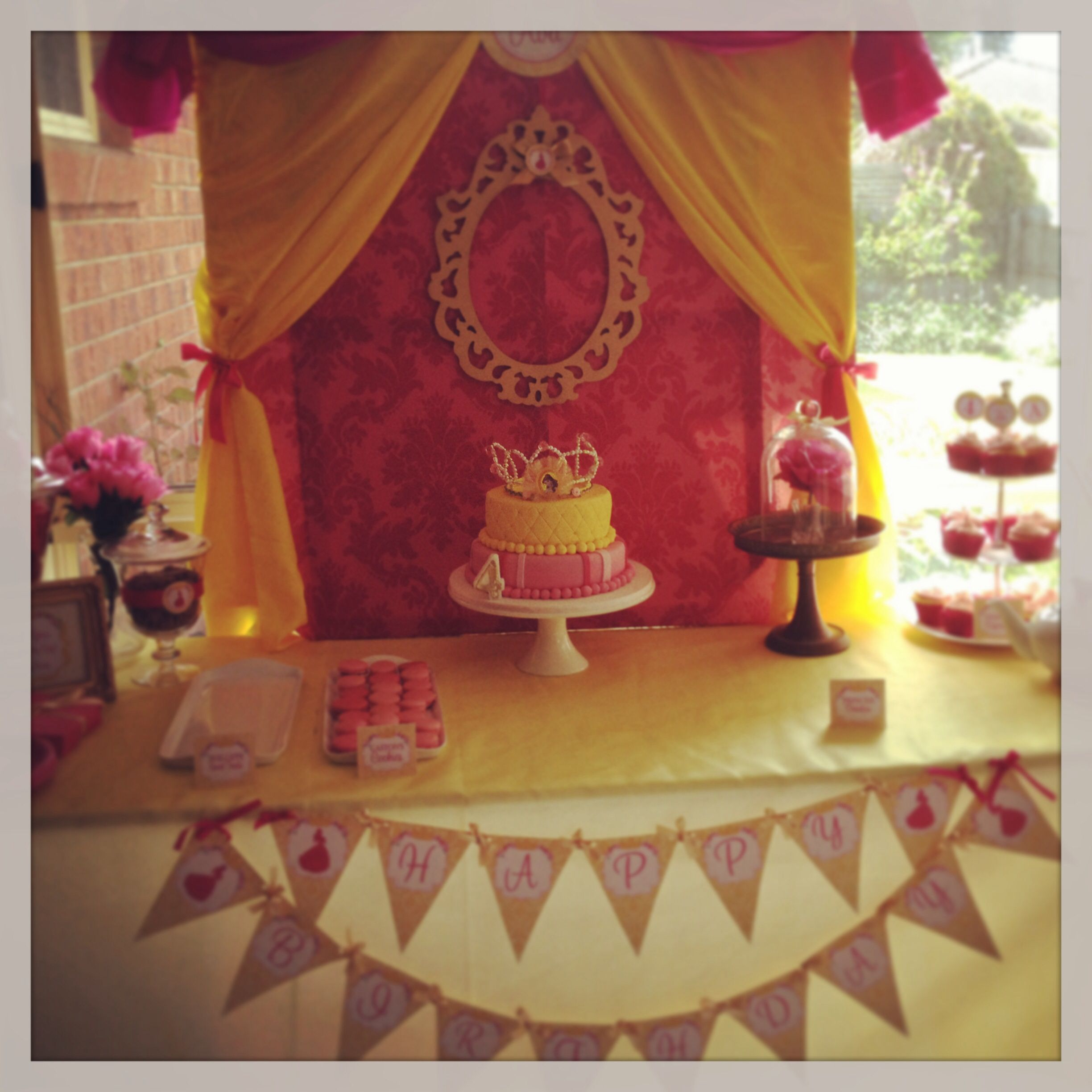 Belle Birthday Decorations Ava's Princess Belle 4Th Birthday Party Table  Kiyaris' Princess