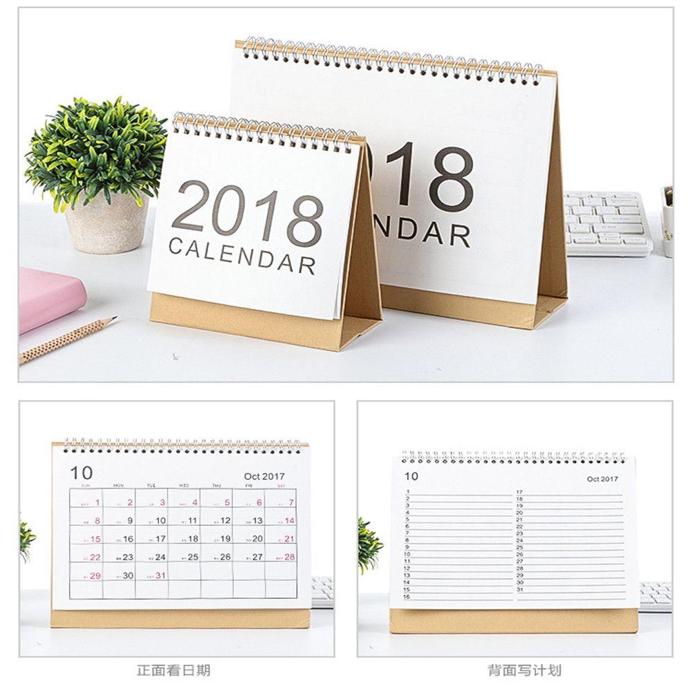 Nouveau 2018 année petit/Moyen/grand Saisonniers Simple 2018 Calendrier Organisateur Calendrier de Table Permanent Calendrier Planificateur Livre Calendrier
