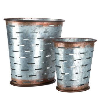 Galvanized Metal Oval Olive Buckets Metal Containers Olive Bucket Galvanized Metal