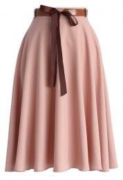 Tender Flaunts Belted A-line Skirt in Rouge Pink