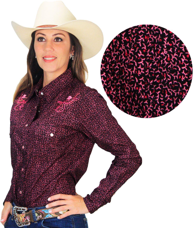 b7ef041160 Camisa Feminina Manga Longa Importada Preta Com Estampa Floral Rosa e Botões  de Pressão Camisa Feminina