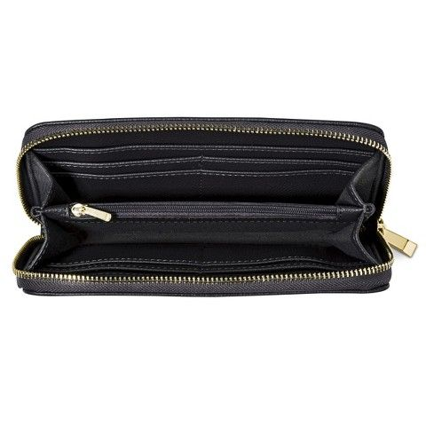 Merona® Solid Wallet - Gray or black Something like this, but doesn't have to zip closed. Snap or latch.