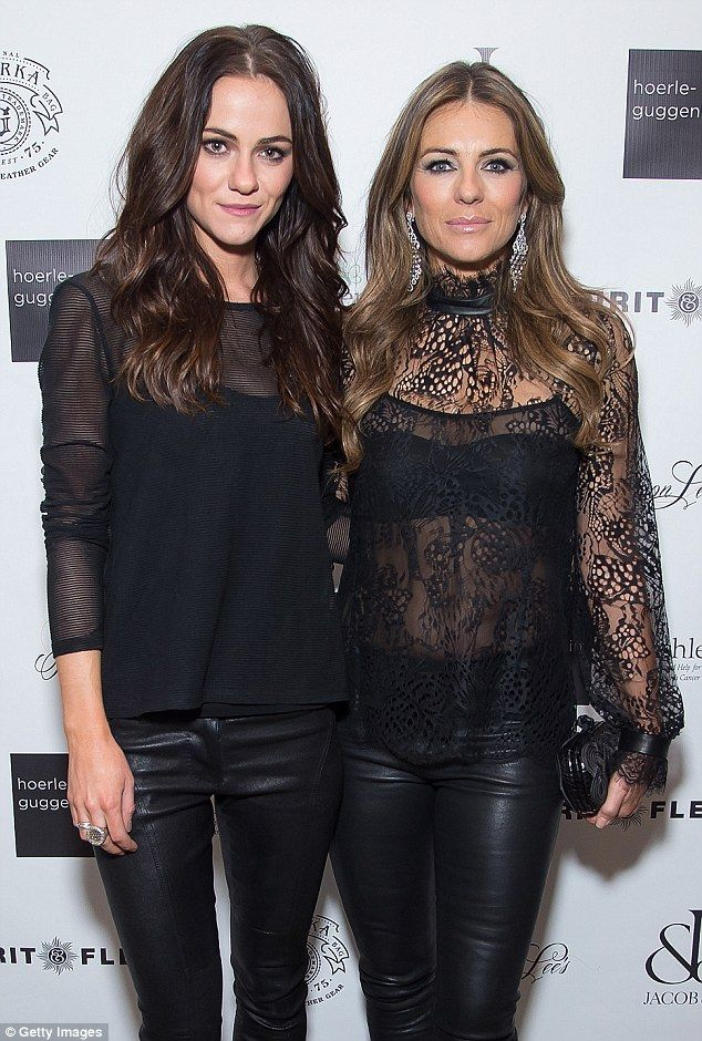Elizabeth Hurley in see-through lace top at Royals premiere in NYC #leatherpantsoutfit