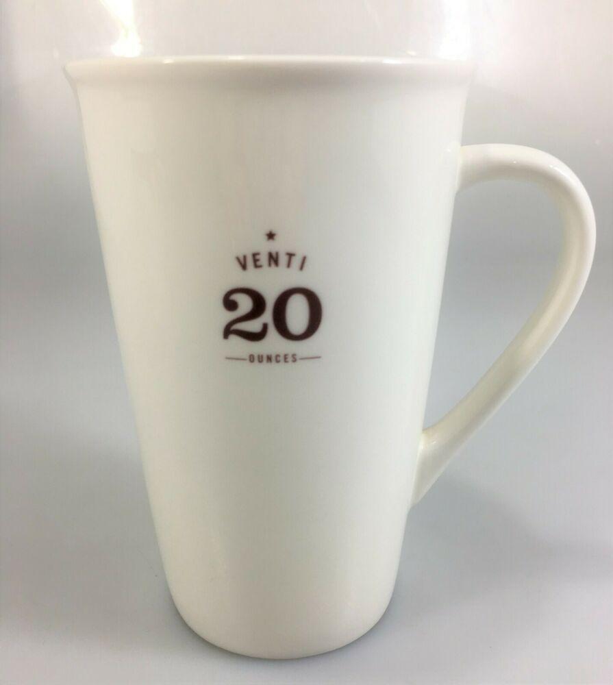 Starbucks Venti 20 Oz Coffee Latte Ivory Ceramic Tall Mug