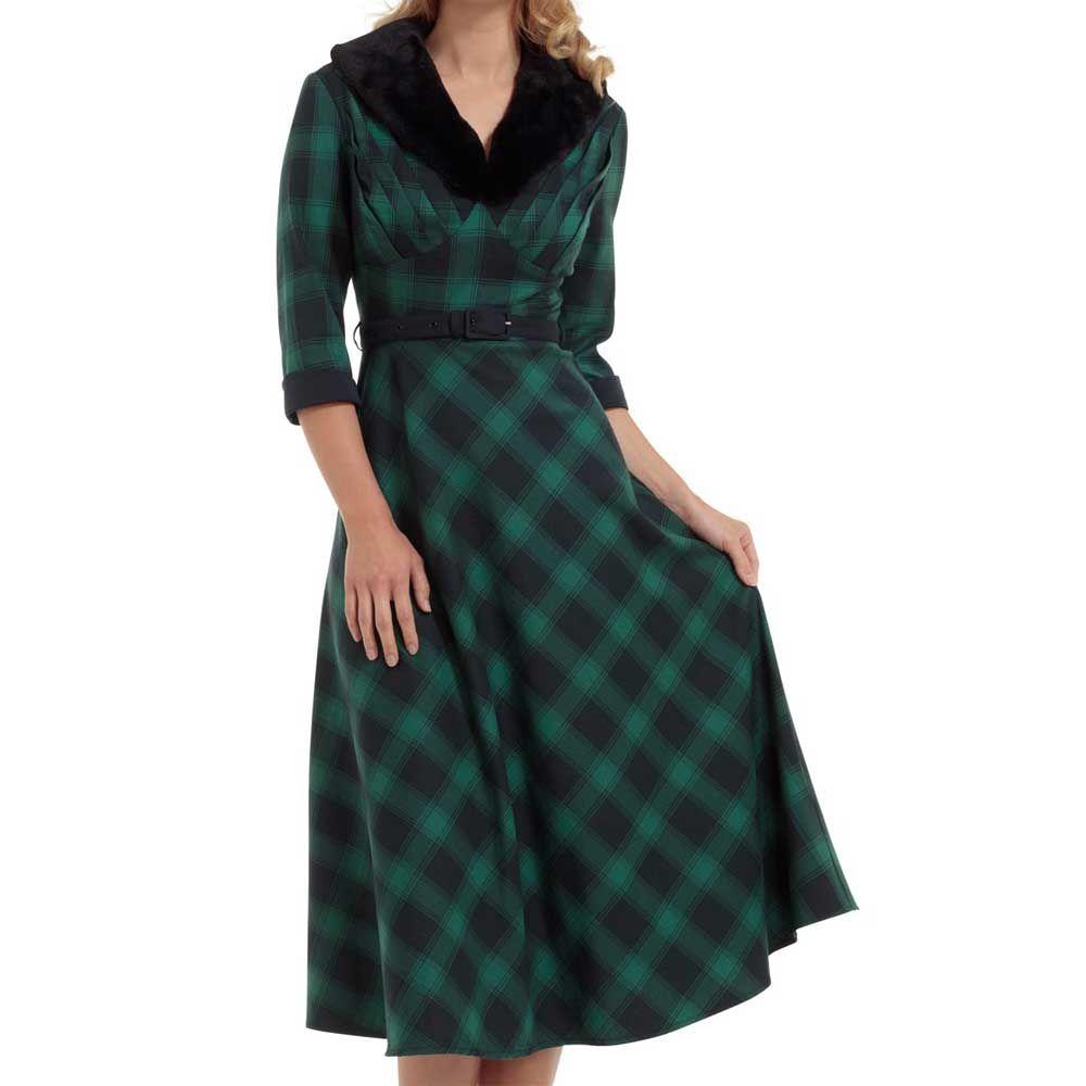 318b8af02e7705 Voodoo Vixen Lola lange jurk met schotse ruit print en nep bont kraag