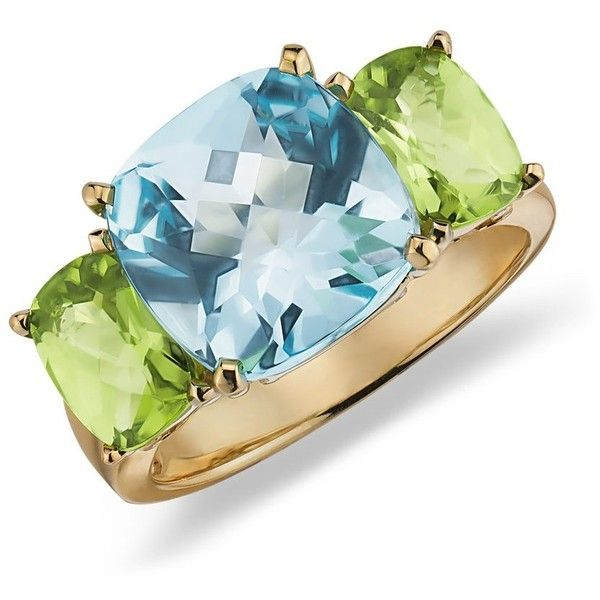 Blue Nile Blue Topaz and Peridot Ring in 14k Yellow Gold ($1,150) ❤ liked on Polyvore