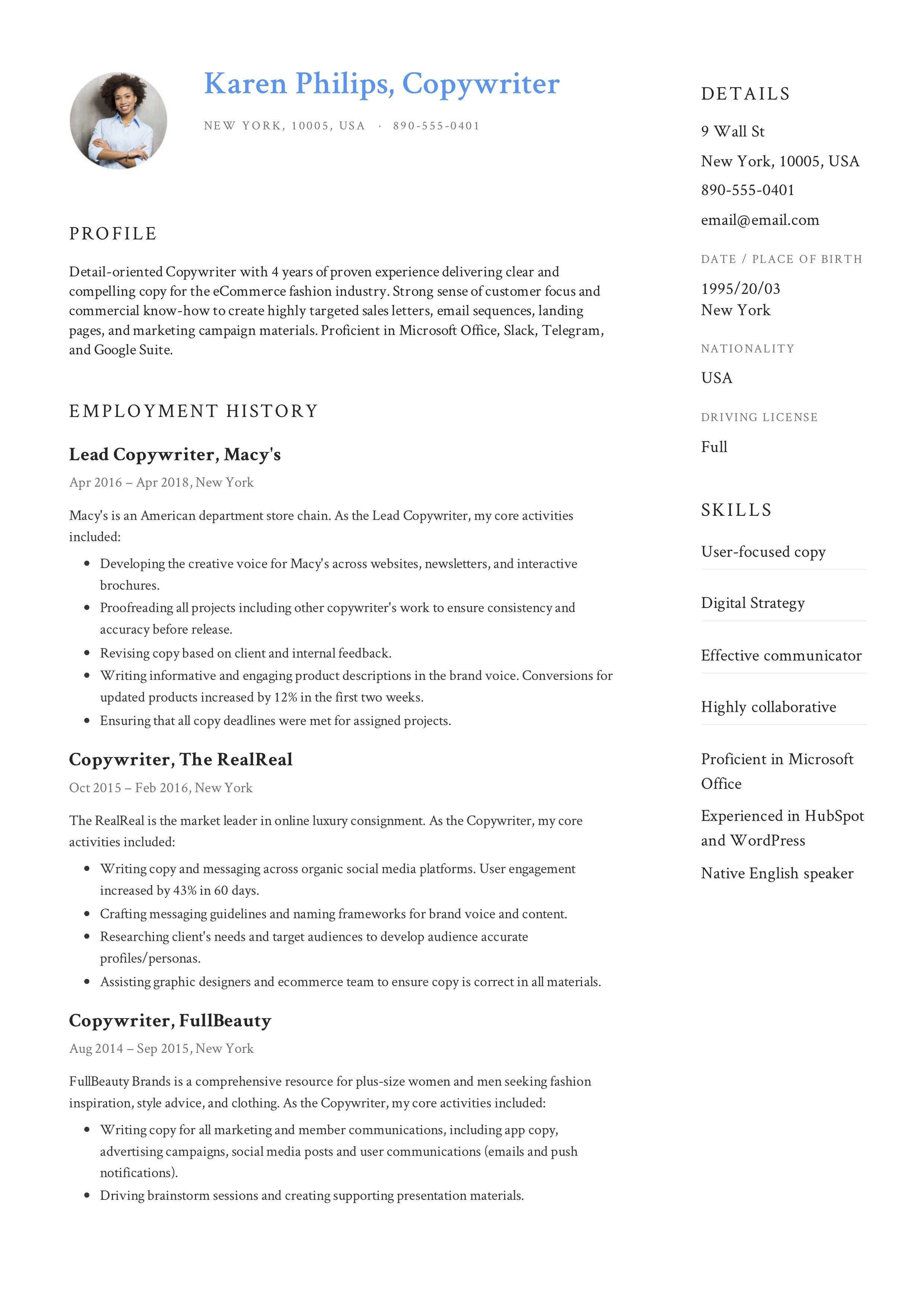Copywriter Resume, template, design, tips, examples, free