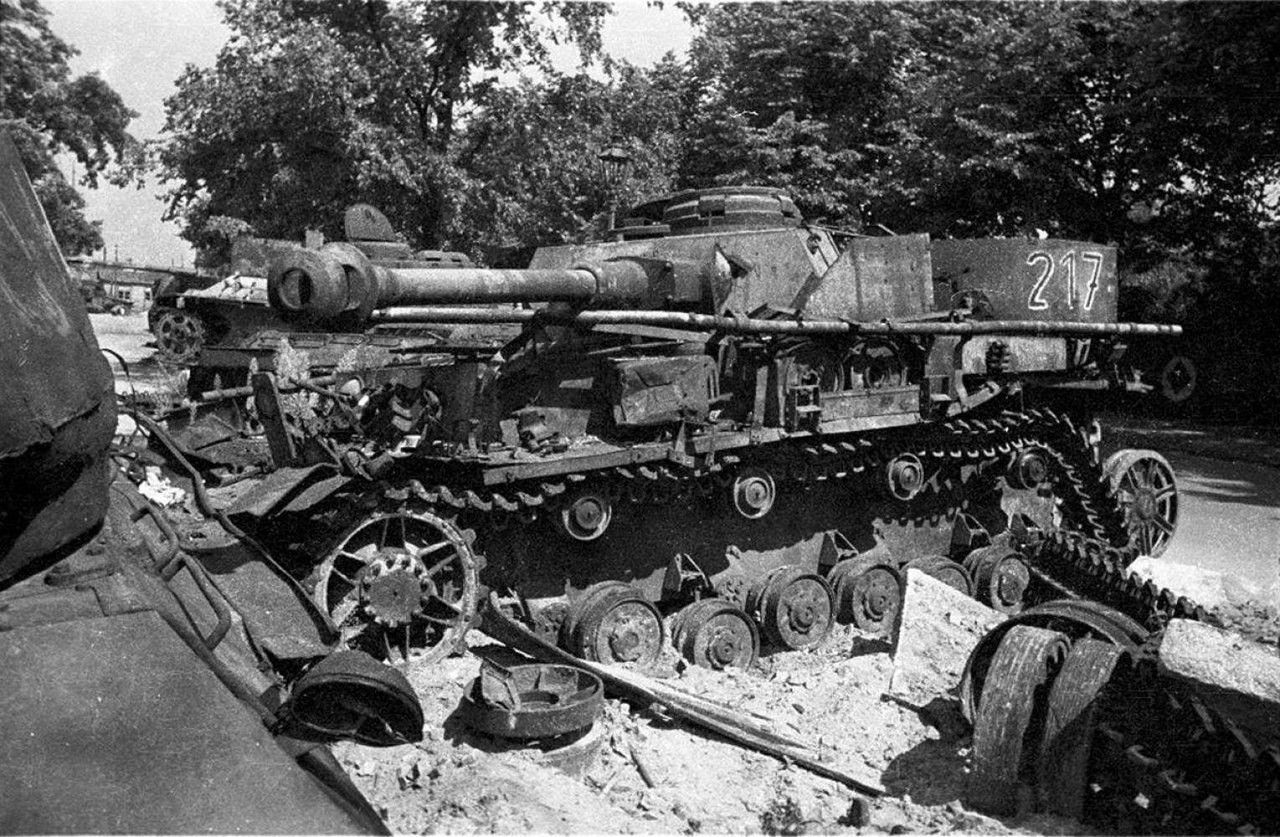 Wrecked and burned German medium tank Pz.Kpfw.IV Ausf.J