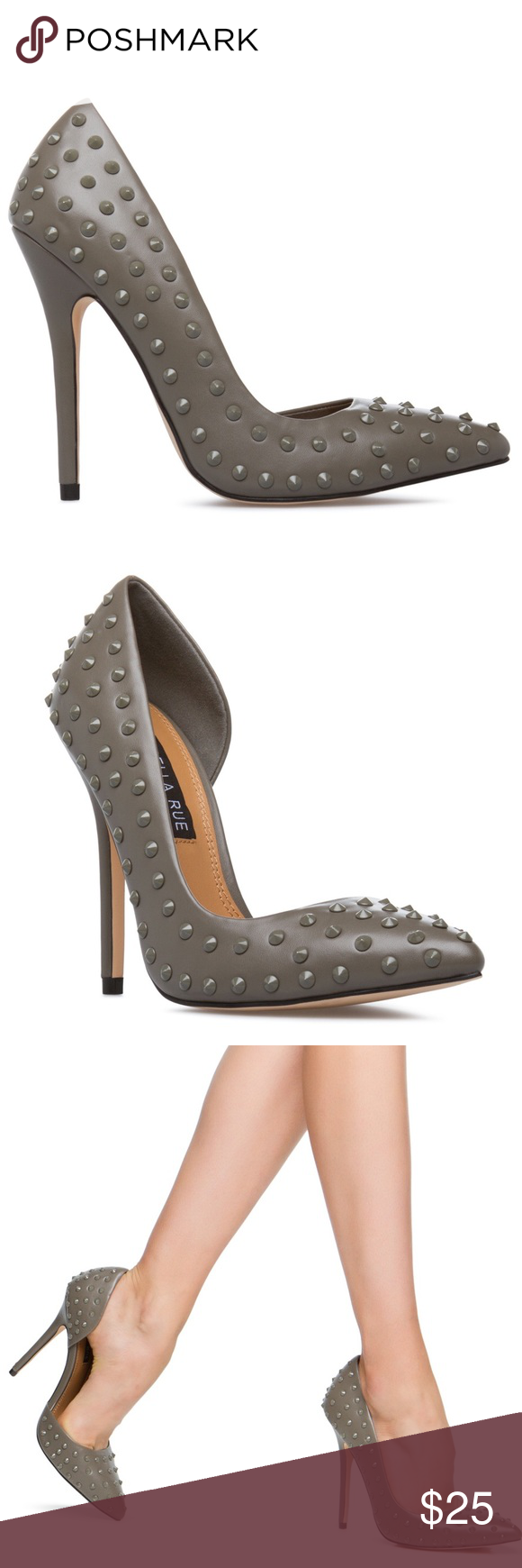 Spiked Heels Izabella Rue, a pointed pump with spiked accent beads. I have these in three different colors. Couldn't work this one into my wardrobe. Brand New. Size says 6, but I'm a True 6.5. This style runs 1/2 size too big.... Reason why I got them in a 6. Izabella Rue Shoes Heels
