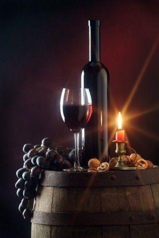 Canvas Print Wine Cellar Barrel Cadle Grape Grapes