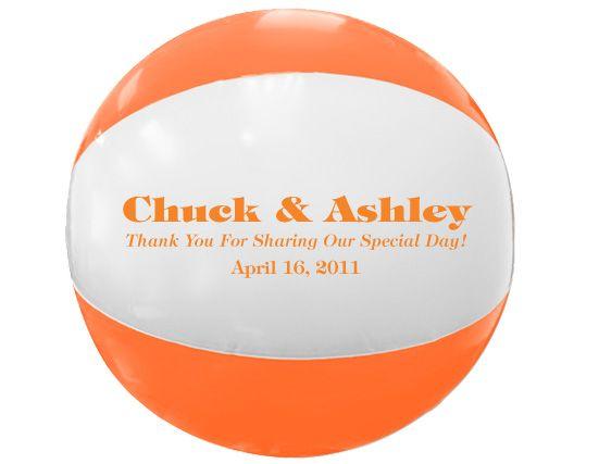 16 Two Color Beach Balls Orange With White Panels Wedding