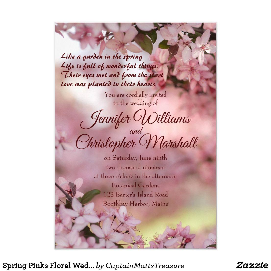 Spring Pinks Floral Wedding Invitation | Zazzle.com | Floral wedding  invitations, Fun wedding invitations, Wedding invitations