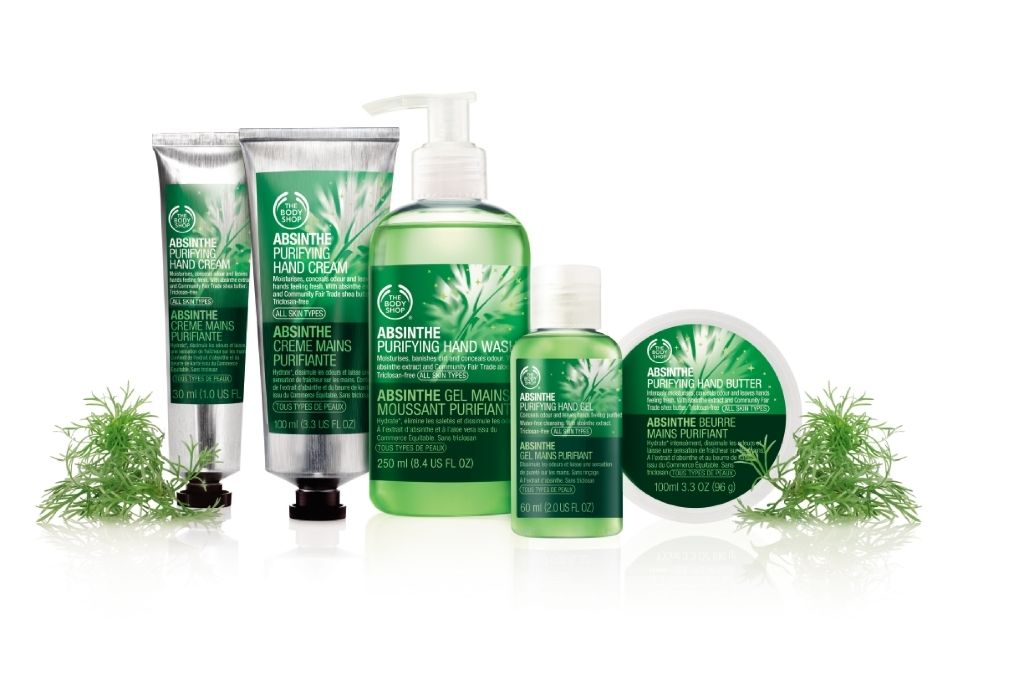 You Ll Love Our New Absinthe Purifying Hand Care Range Designed To Banish Dry Skin And Bad Odours Hands Are Left Feeling Cle The Body Shop Absinthe Hand Care