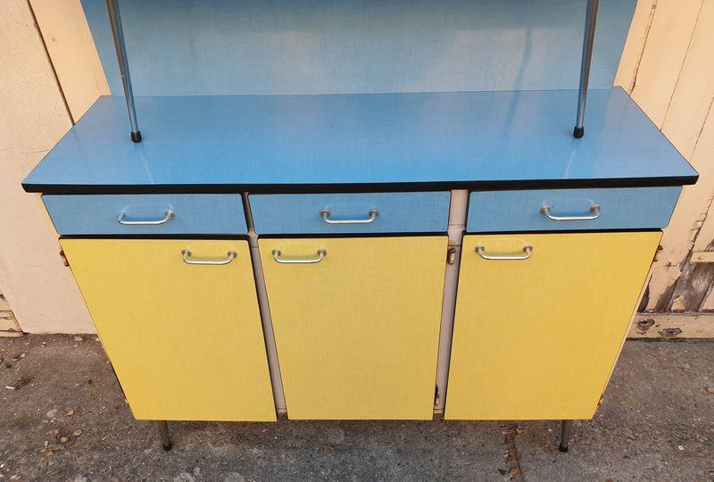 Buffet Formica Bleu Et Jaune 2 Corps Vintage Annees 60 Meuble Formica Buffet Enfilade Buffet Bas