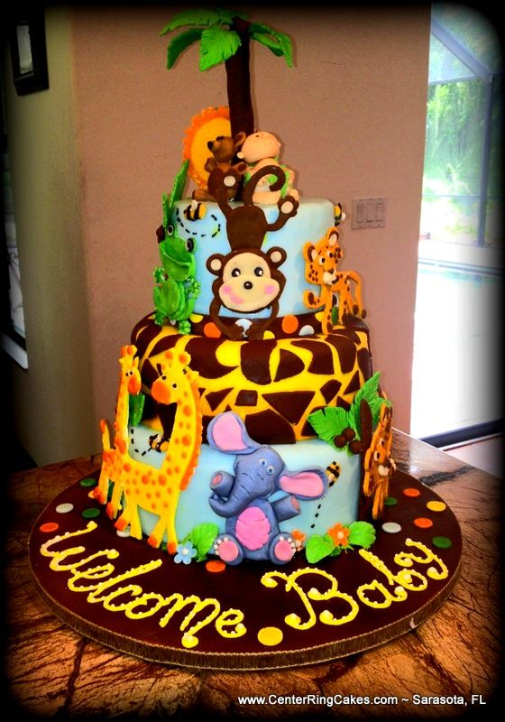 cakes baby cakes jungle cake jungle safari zoo cake safari theme