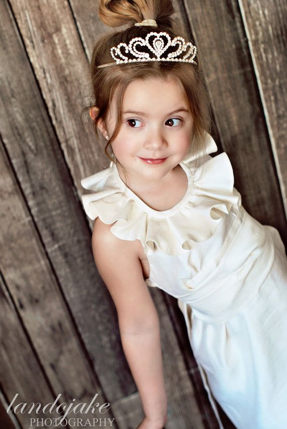 New Little Lady halter ruffled neckline dress, flower girl dress, special occasion, party. Blend of silk and cotton. Size 2T- 14Y