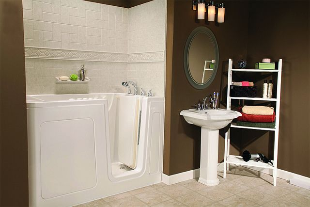 White Walk In Bathtub 30x60 With Roman Stone Windmill U0026 Tile Listello Trim  By Comfort