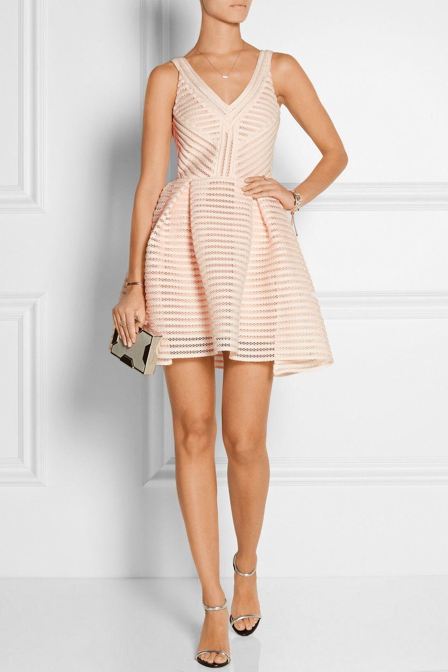 bc549db0a58890 Robe courte rose pastel à rayures, col en V, cintrée, pochette, Rayure  mesh-striped jersey mini dress