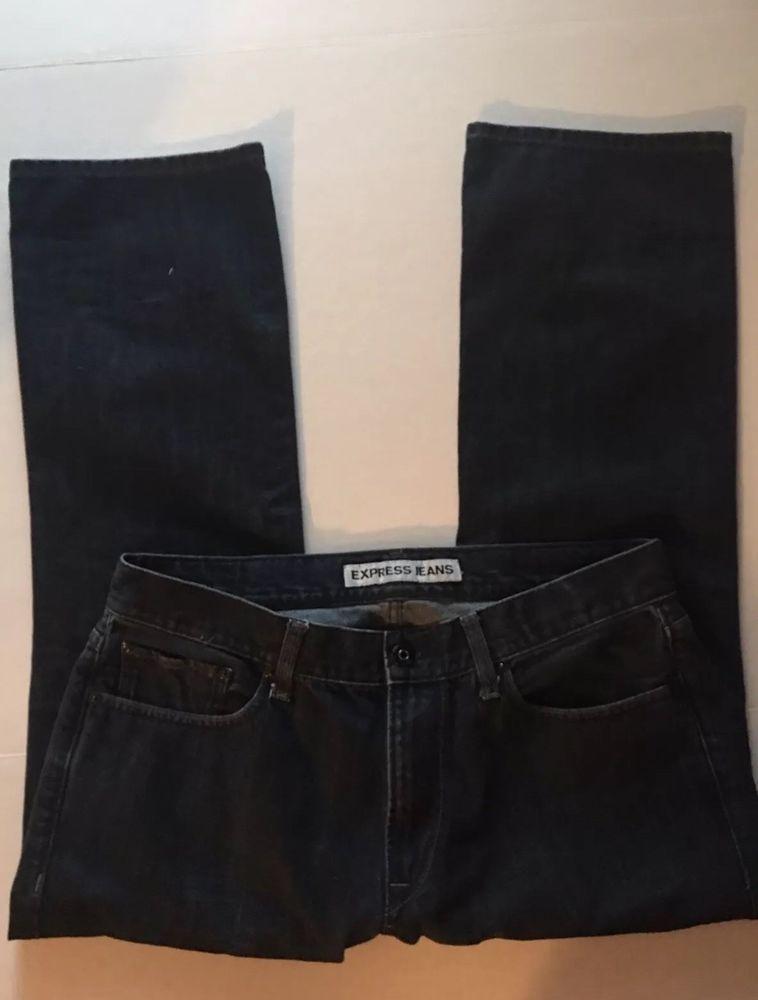 809225978e1 Express Mens Rocco Slim Fit Boot Cut Jeans 36x30 Dark Wash EUC #fashion # clothing