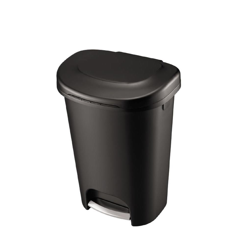 Rubbermaid 13 Gal Black Step On Trash Can 2007867 The Home Depot Trash Can Kitchen Trash Cans Waste Basket