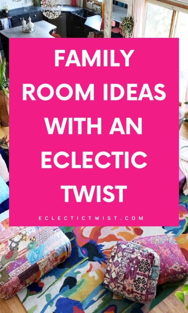 The best family room ideas with an eclectic twist and maximalist twist. #maximalism #maximalistdecor #familyroomdesign #livingroomideas #decorideas #bohostyle