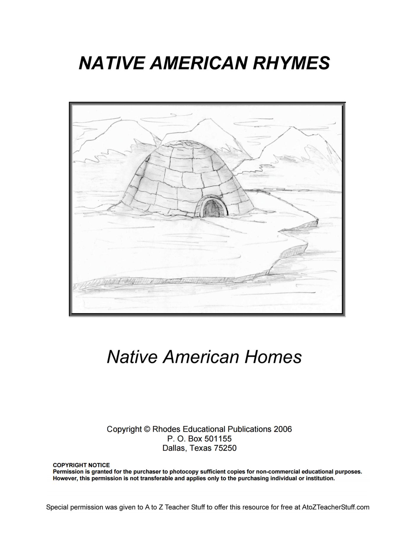Native American Rhymes Native American Homes Free