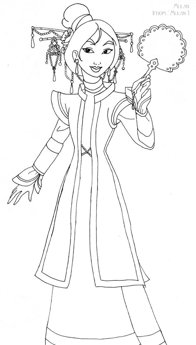 Mulan Deluxe Gown Lineart Disney Princess Coloring Pages Princess Coloring Pages Disney Princess Colors