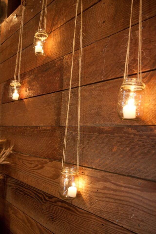 Rustic Hanging Mason Jar Candle Holders #designfürzuhause Rustic Hanging Mason Jar Candle Holders #masonjarbathroom