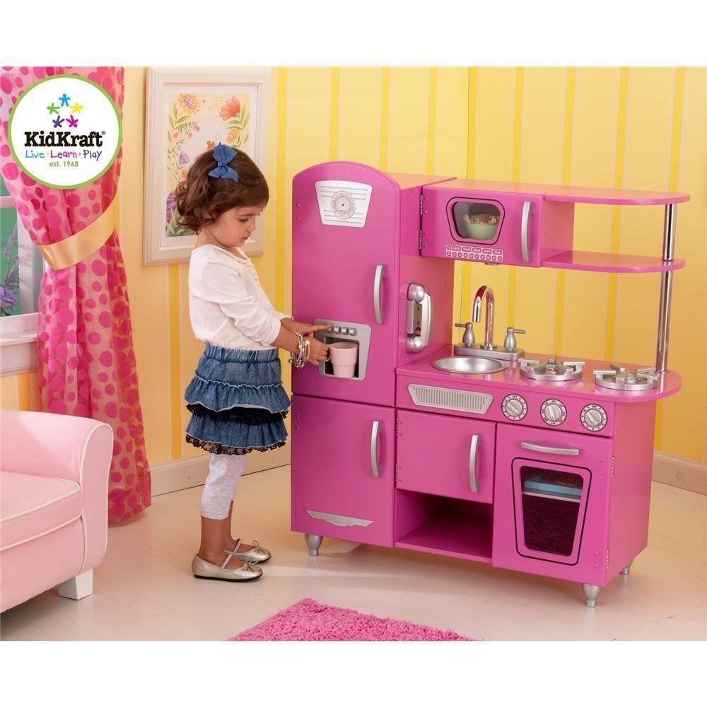 Kidkraft bubblegum pink vintage kitchen pretend play food