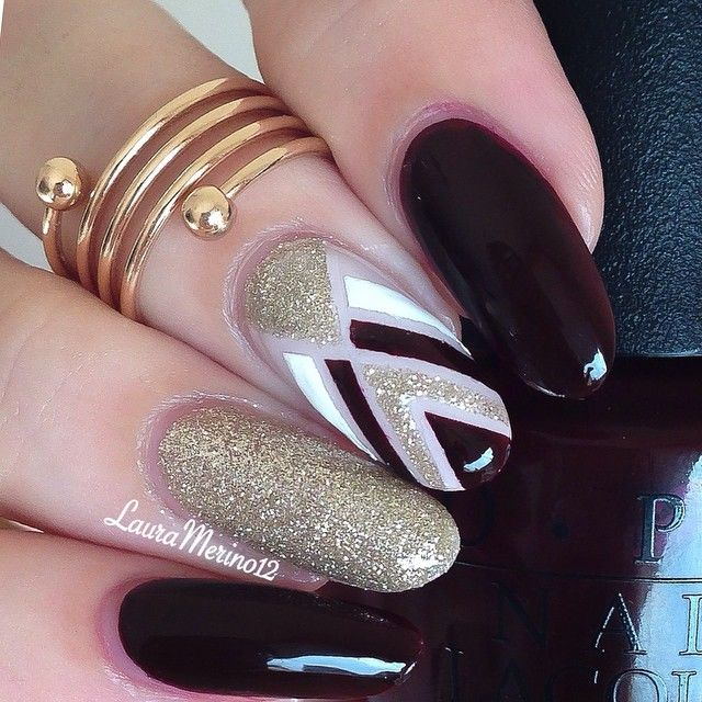 Hi dolls Here are the nails I wore for yesterday's vampy look.. My accent nails was inspired by my loves @melcisme @annkristin0  Colors used: OPI 'visions of love' 'alpine snow' and 'don't bossa me around'  Zoya 'tomoko' from @hbbeautybar . Using my code 'lauramerino' you can't get 15% entire purchase  ✨spiral ring is from @shoptalinas