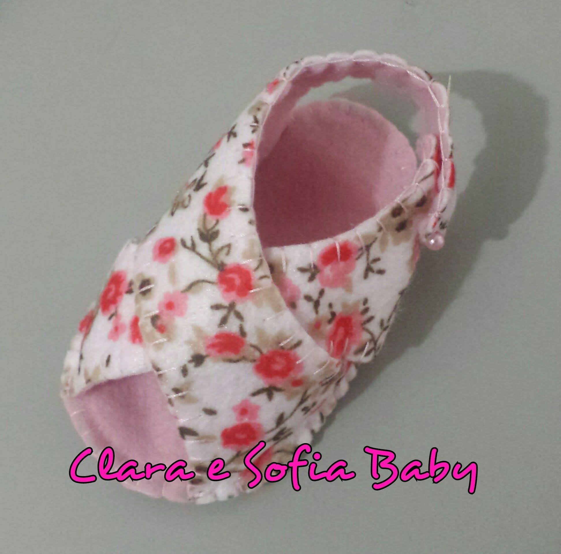 Sandalia de Bebª Transpassada em feltro feito a m£o