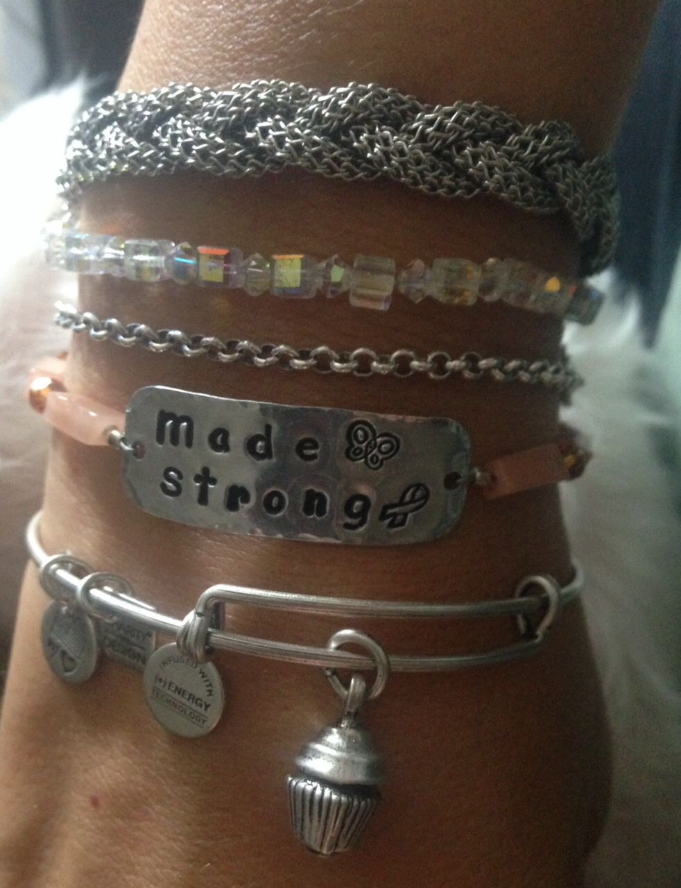 Beads4Bubba Made Strong bracelet layered with Alex & Ani cupcake bracelet both to support MS to raise awareness and find  a cure. Www.beads4bubba.com