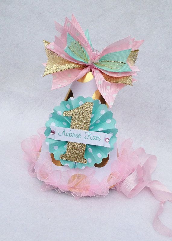 Mint Pink and Gold Foil Birthday Party Hat with Polka Dots and