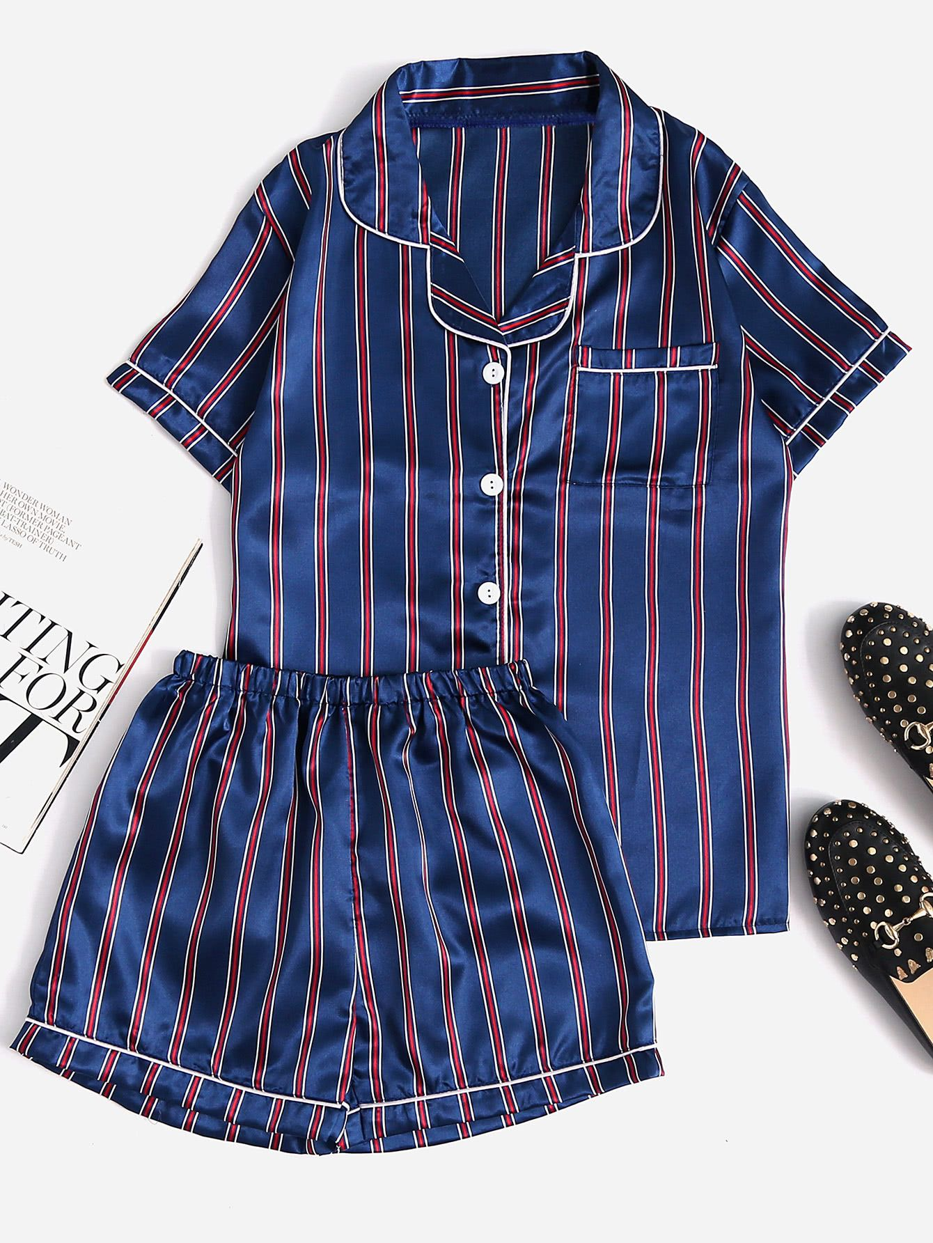 458767fe0c Shop Contrast Piping Striped Shirt & Shorts Pajama Set online. SheIn offers  Contrast Piping Striped Shirt & Shorts Pajama Set & more to fit your  fashionable ...