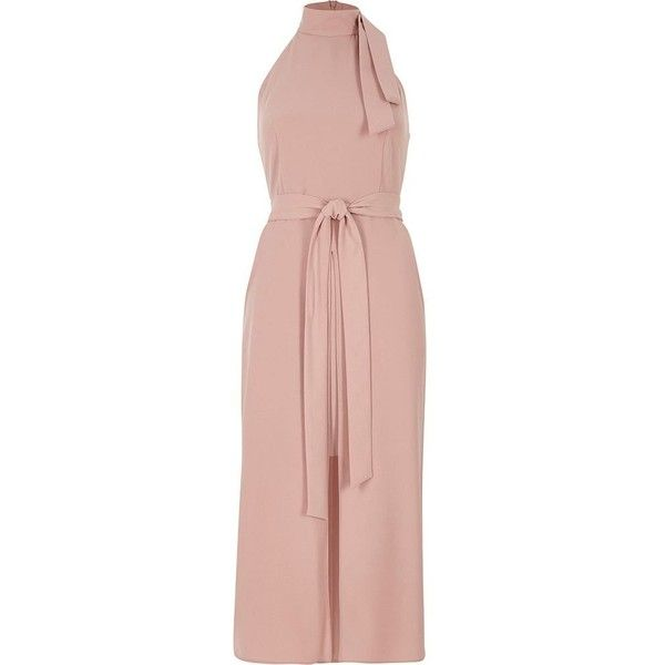 12529dbe80c9 River Island Light pink high neck tie waist midi dress ( 100) ❤ liked on