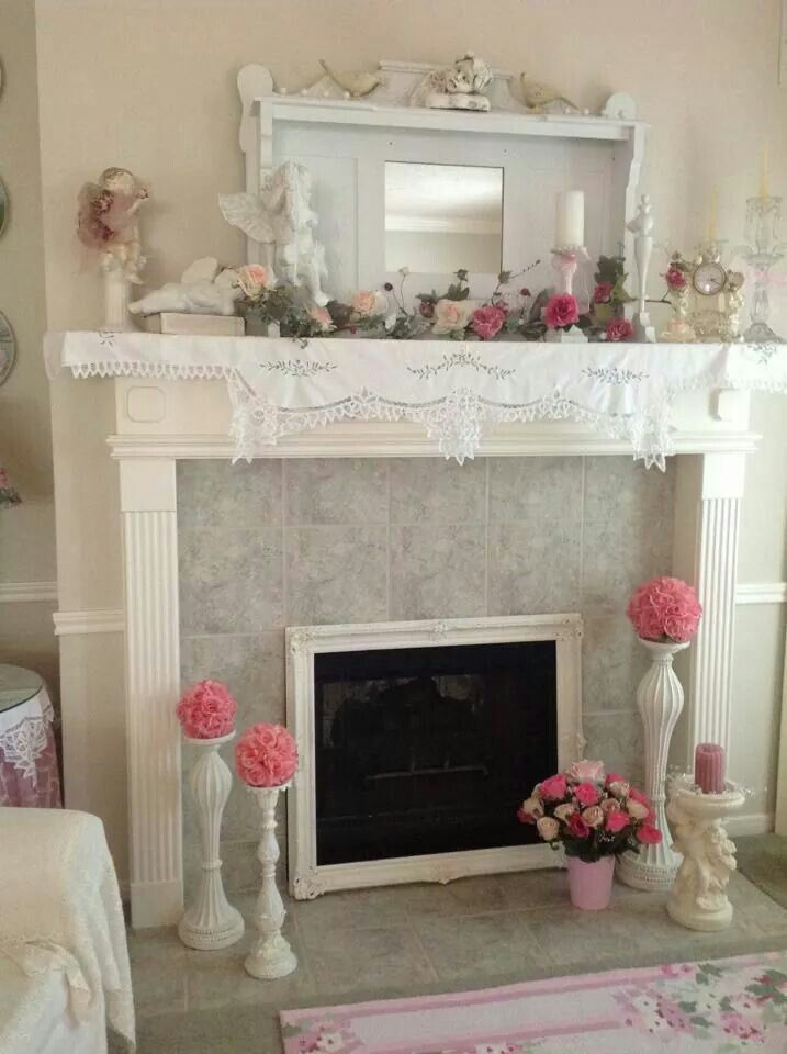 Pin By Rose Petals And Pearls On Home Decor That I Love Shabby Chic Fireplace Shabby Chic Christmas Mantel Decorations