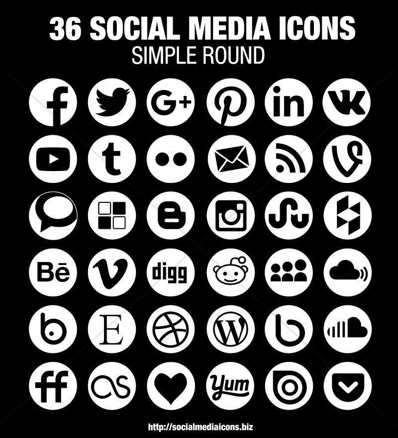 Round Social Media Icons White Socialmediaicons Social Media Icons Media Icon Icon