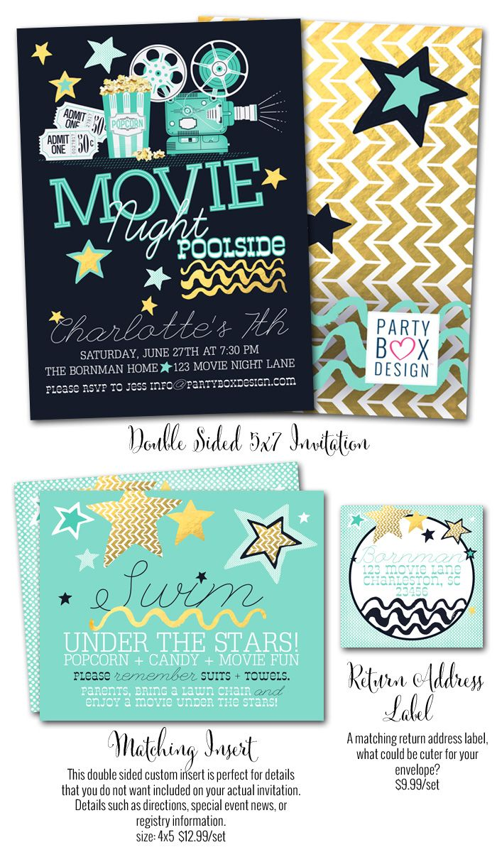 Girl Party Invites Movie Pool Poolside Themed Birthday Parties And Decor Summer Under The Stars