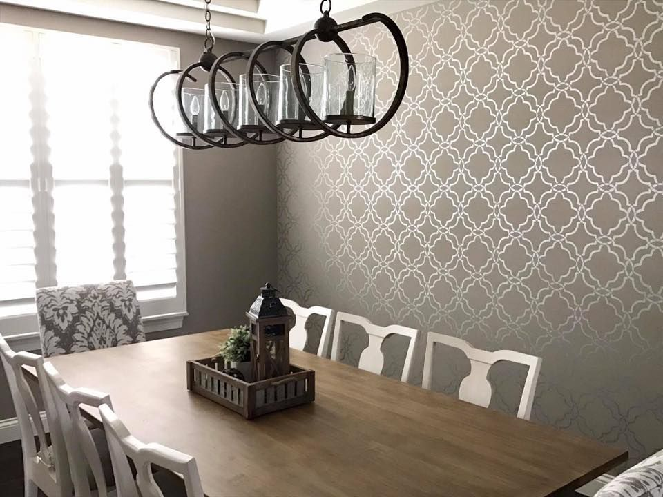 Diy Painted And Stenciled Accent Wall Ideas For Dining Rooms On A