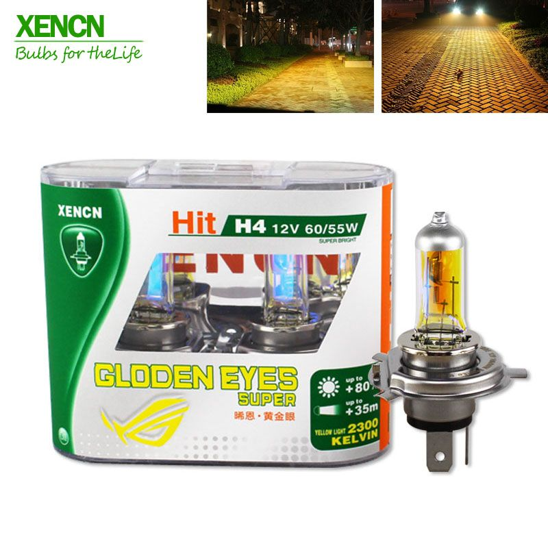 Buy Online Xencn H4 12v 60 55w P43t 2300k Golden Eyes Super Yellow More Bright Light Halogen Car Bulbs Headlights Free Shipping 2pcs Mobil Hidup