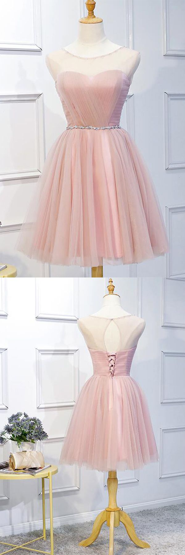 Pink tulle homecoming dress with sashed best seller