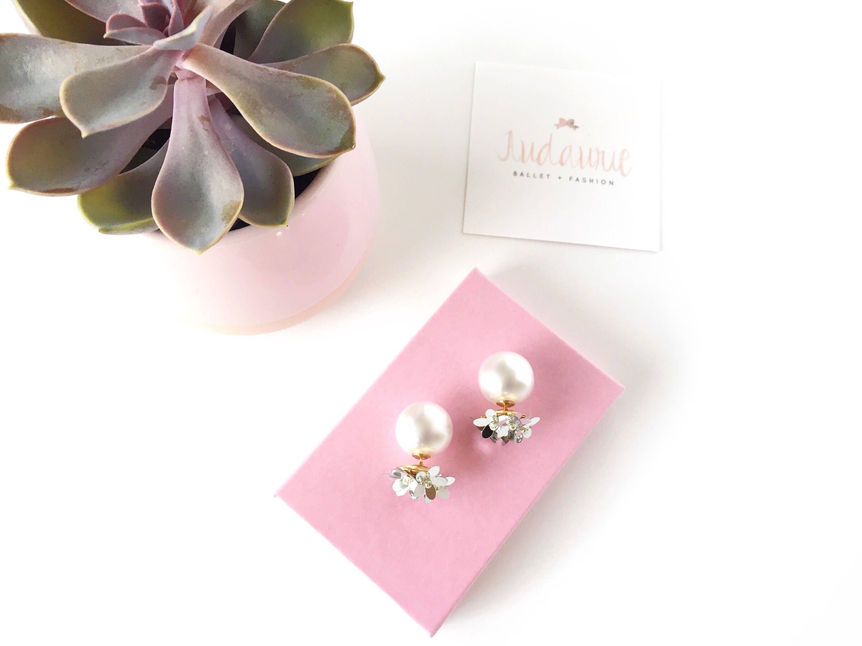 Silver flower earrings - ear jacket jewelry - double sided earrings ...