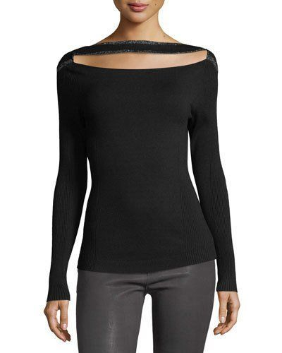 Frame Split-front Long-sleeve Fitted Sweater In Black Pattern | ModeSe