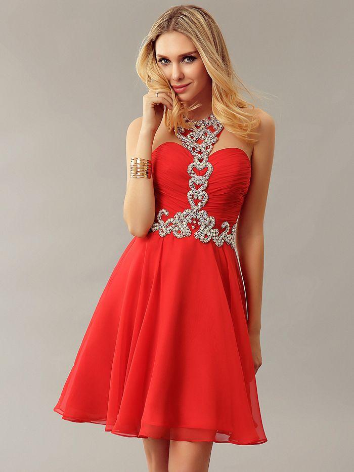 Sexy Rot Eine linie Funkeln Chiffon Short Prom Dresses Halter Mini ...