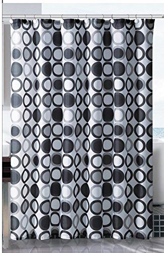 Geometric Multi Color Circle Pattern Fabric Shower Curtain Black