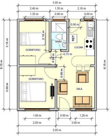 plano de casa con medidas 36m2 2 dormitorios muebles
