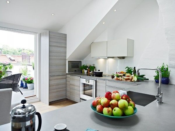 White wall paint decoration in modern kitche wooden laminate flooring good loft interior design ideas interesting that maximizing small room into also best images rh pinterest