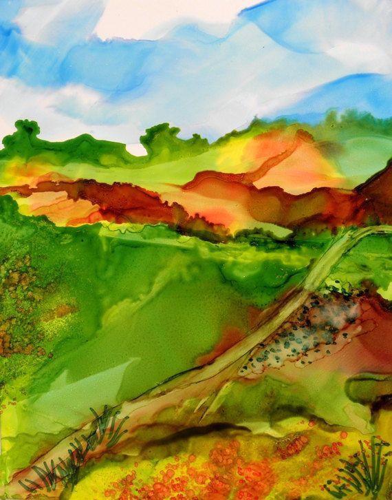 Alcohol Ink Painting 5x7 original landscape on Yupo paper  # 165 SandraFoxDesigns