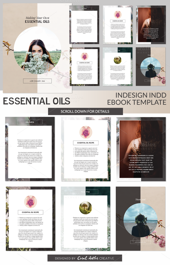 Essential Oils INDD Ebook Template | Presentation design and Template